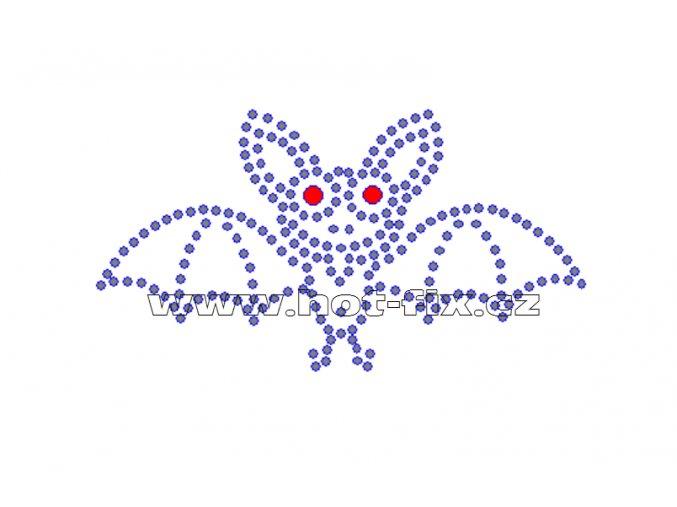 D020 - netopýr nažehlovací potisk z hot-fix kamenů, rozměry cca 9,8x5,3cm