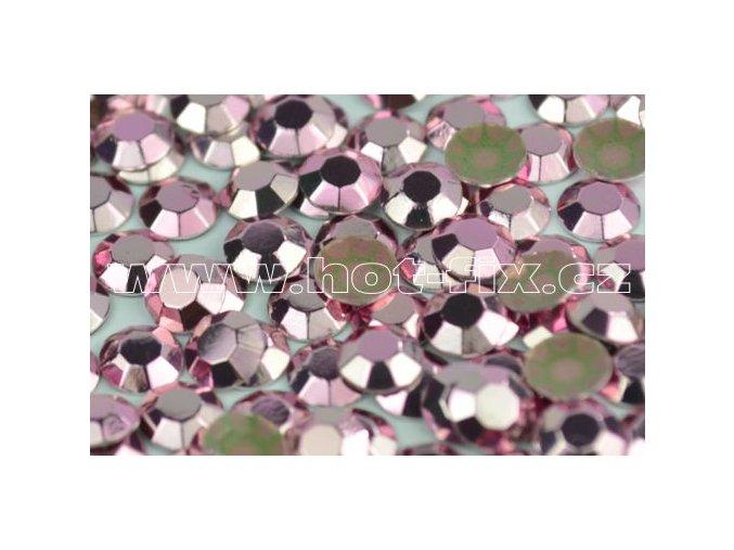 Octagon kovové hot fix kameny na textil barva růžová