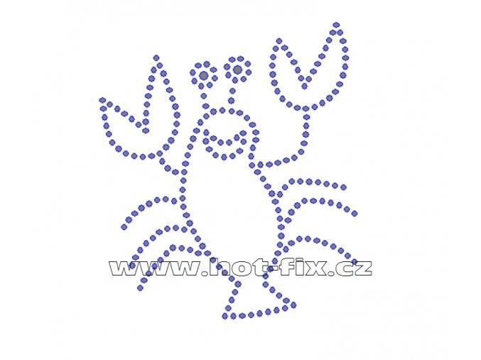 D024 - nažehlovací potisk z hot-fix kamenů rak, rozm. cca 8,3x9,6cm