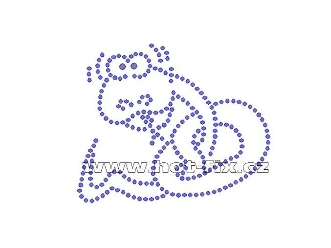 D028 - nažehlovací potisk z hot-fix kamenů had, rozm. cca 8,8x7,3cm