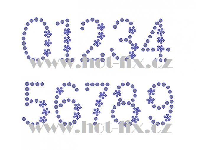 F021č číslice nažehlovací kamínkový potisk na tričko, textil hot fix kameny