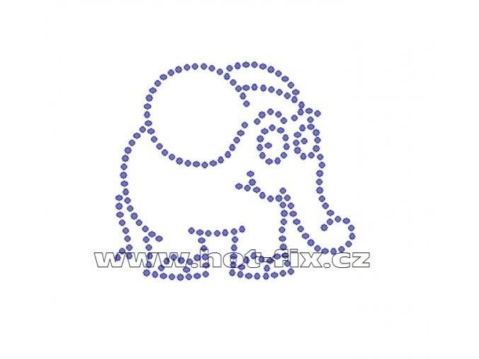 D056 - slon nažehlovací potisk na textil z hot-fix kamenů, rozm. cca 7,4x6,7cm