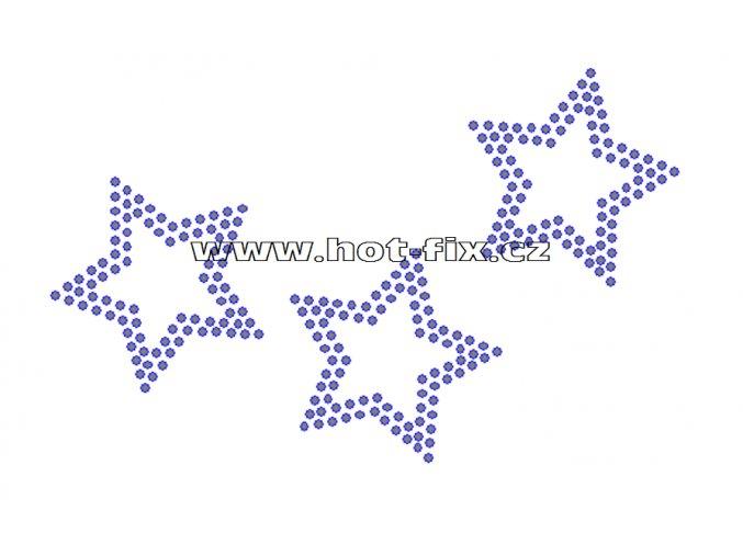 SH008 verze B hvězdy nažehlovací potisk na tričko, textil hot fix kameny