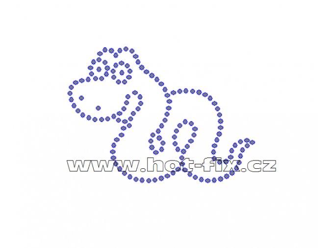 D061 - nažehlovací potisk z hot-fix kamenů had, rozm. cca 7,6x5,6cm