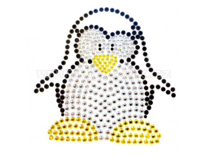D064 - tučňák nažehlovací potisk z hot-fix kamínků, rozměry cca 8,5x8,3cm