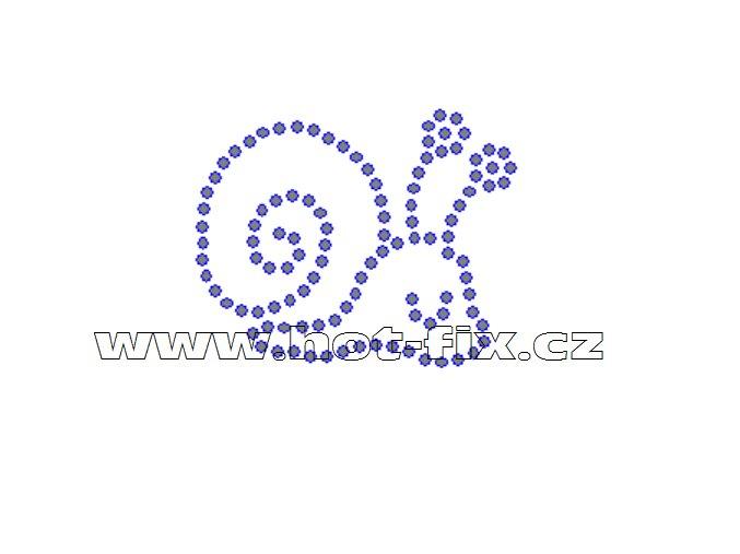 D081 - šnek nažehlovací hot-fix kamínkový potisk na textil, rozměry cca 5,0x4,0cm