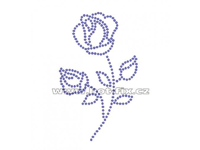 K002 - růže nažehlovací aplikace na textil z hot-fix kamenů, rozměry cca 6,9x11,2cm