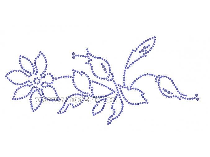 K009A-L - popínavá růže nažehlovací potisk z hot-fix kamenů, rozměry cca 20,2x9,3cm