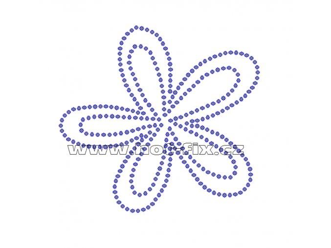 K021 - květ nažehlovací potisk z hot-fix kamenů, rozměry cca 9,7x9,0cm
