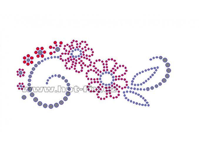 K039 - verze P - nažehlovací potisk z hot-fix kamínků květinový motiv, rozměry cca 13,8x6,2cm