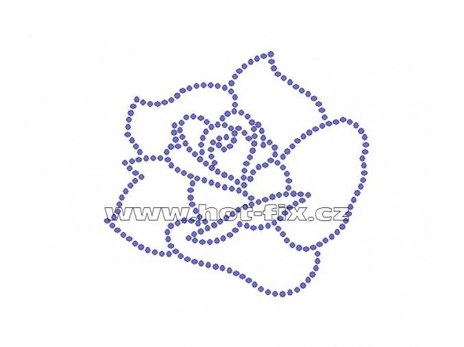 K040 - nažehlovací potisk z hot-fix kamenů růže, rozm. cca 9,2x8,5cm