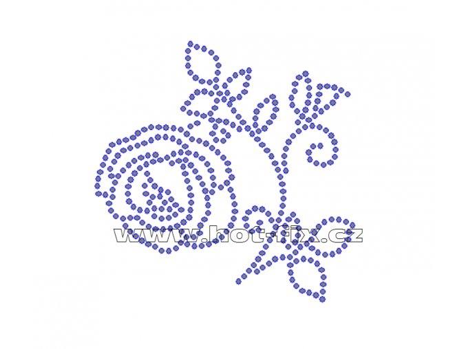 K048-L - růže malá nažehlovací potisk z hot-fix kamenů, rozměry cca 8,9x8,9cm