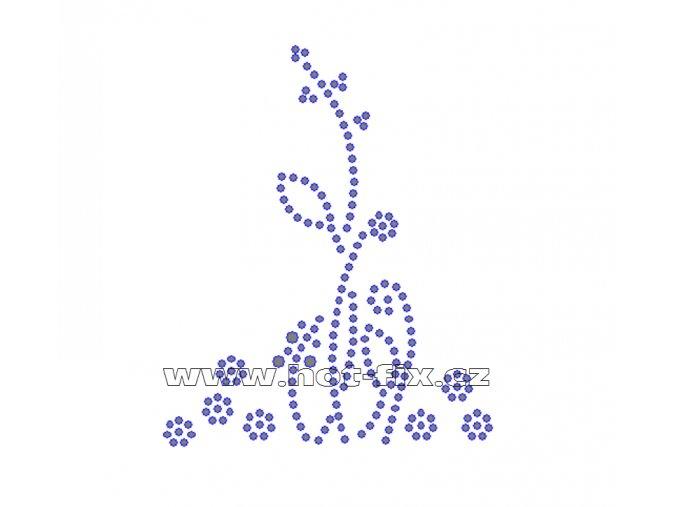 K052 - květinový motiv nažehlovací aplikace na textil z hot-fix kamenů, rozměry cca 8,0x9,7cm