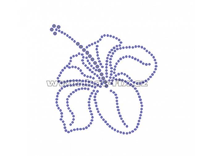 K055 - nažehlovací potisk z hot-fix kamenů ibišek, rozm. cca 9,0x9,3cm