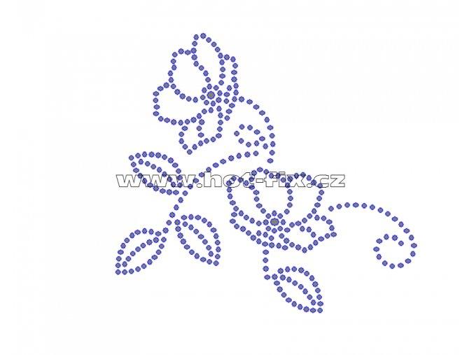 K059 - popínavá růže nažehlovací potisk z hot-fix kamenů, rozměry cca 11,0x10,4cm