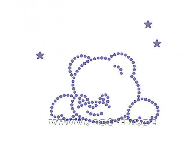 D079 - nažehlovací potisk z hot-fix kamenů medvídek a hvězdy, rozměry cca 8,5x7,2cm