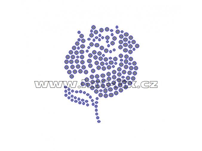 K063 - růže nažehlovací aplikace na textil z hot-fix kamenů, rozměry cca 5,2x6,7cm