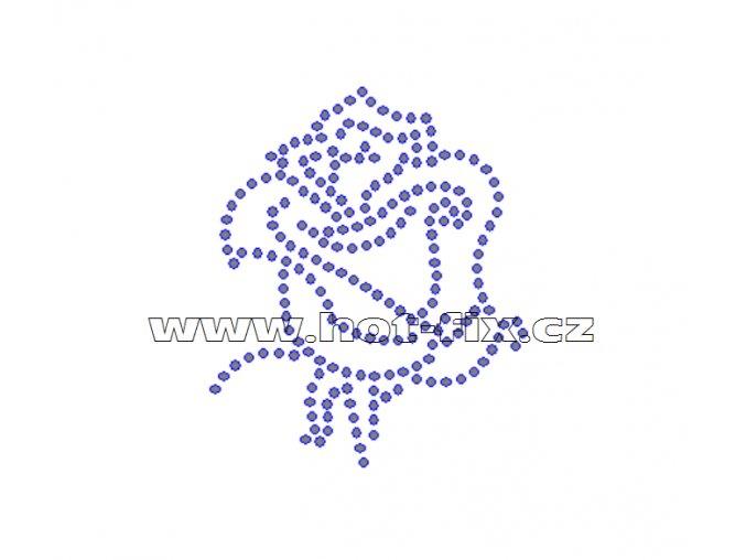 K064 - růže nažehlovací potisk z hot-fix kamenů, rozměry cca 6,0x7,2cm