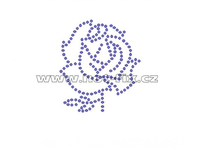 K065 - nažehlovací potisk z hot-fix kamenů růže, rozm. cca 5,6x6,5cm