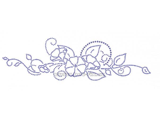 K071 - květinový vzor nažehlovací potisk z hot-fix kamenů, rozměry cca 29,6x8,6cm