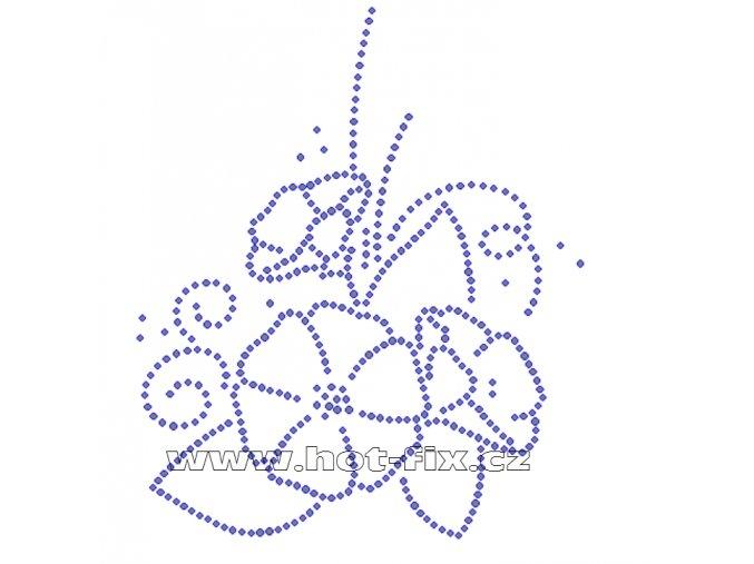K072 - květinový motiv nažehlovací potisk z hot-fix kamenů, rozměry cca 12,3x14,7cm