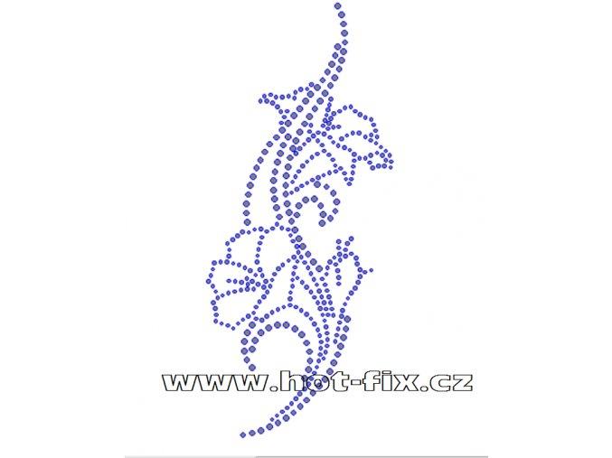 K073-B - květinový motiv nažehlovací potisk z hot-fix kamenů, rozměry cca 8,5x19,8cm
