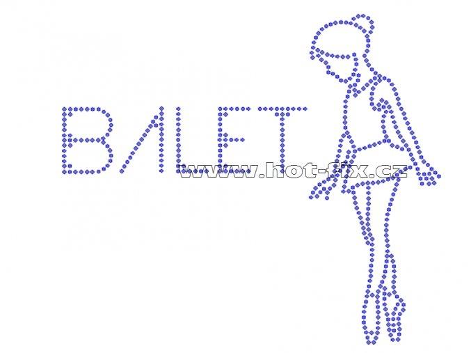 C067 - baletka hot-fix nažehlovací kamínkový potisk na textil, rozměry cca 18,2x15,9cm