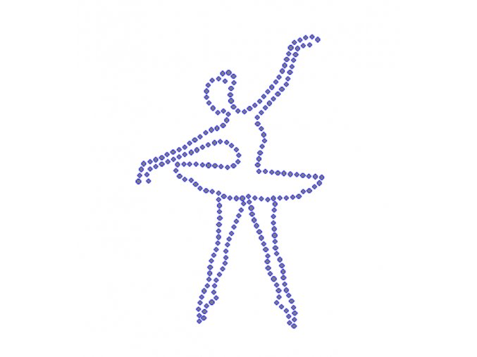 C115 - baletka hot-fix nažehlovací kamínkový potisk na textil, rozměry cca 7,5x11,7cm