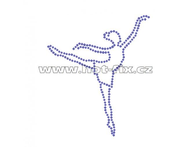 C116 - nažehlovací potisk z hot-fix kamenů baletka, rozm. cca 9,9x11,7cm