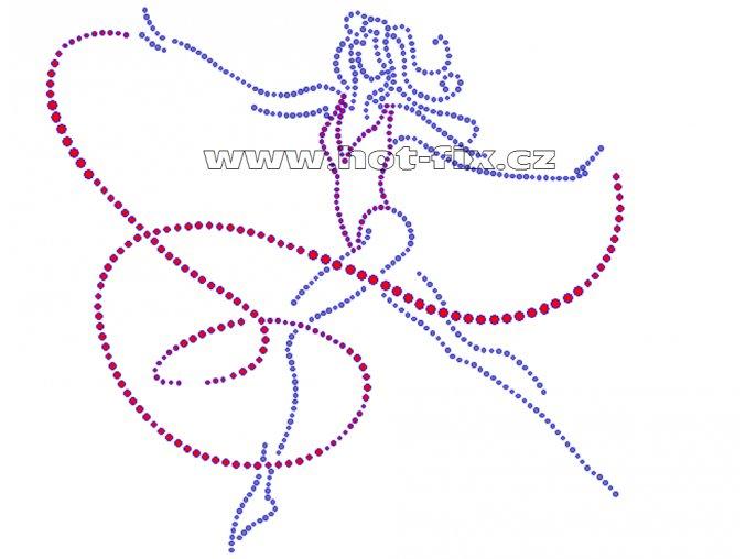 C059 - gymnastka se stuhou nažehlovací aplikace na textil z hot-fix kamínků, rozměry cca 22,5x21,3cm