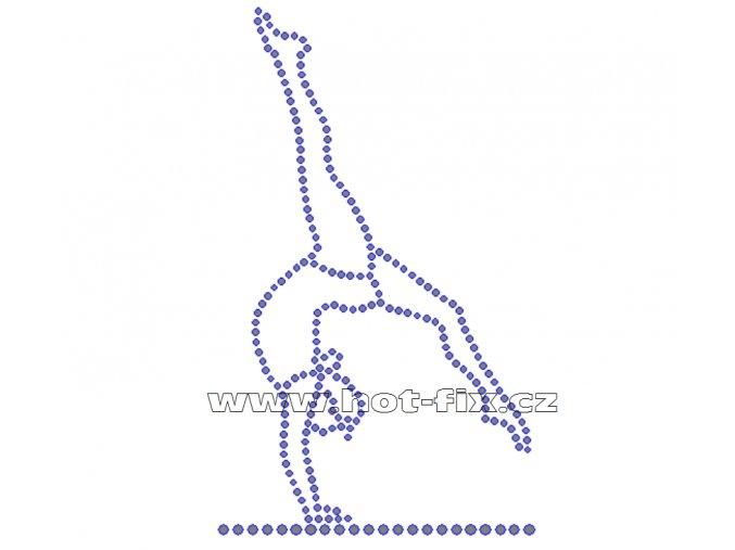 C060 - nažehlovací potisk z hot-fix kamenů gymnastka, rozm. cca 8,3x13,8cm