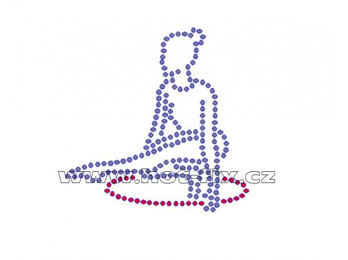 C075 - nažehlovací potisk z hot-fix kamínků gymnastka s obručí, rozměry cca 7,2x7,2cm