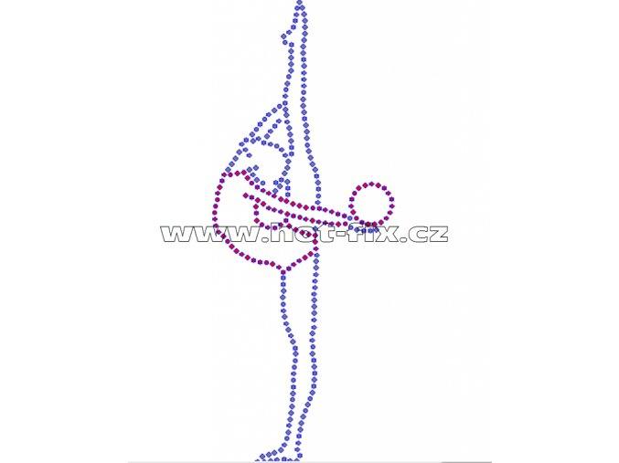 C081 - nažehlovací potisk z hot-fix kamínků gymnastka s míčem, rozměry cca 7,0x17,8cm