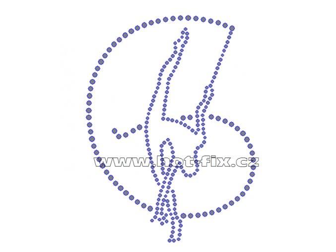 C090 - nažehlovací potisk z hot-fix kamenů gymnastka se stuhou, rozm. cca 9,4x12,6cm