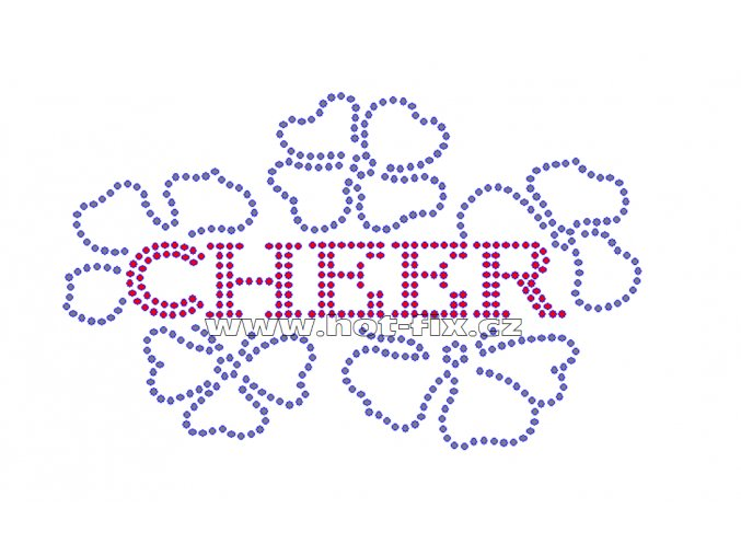 C082 - cheer nažehlovací potisk na textil z hot-fix kamínků, rozměry cca 15,4x9,5cm