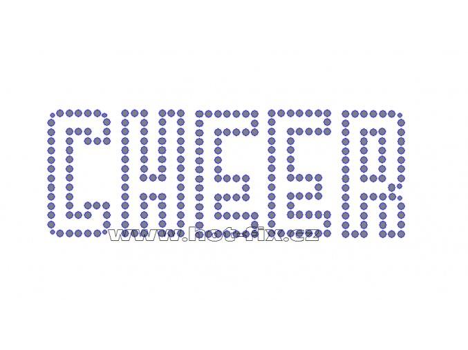 C097 - cheer nažehlovací potisk na textil z hot-fix kamenů, rozměry cca 14,4x5,2cm