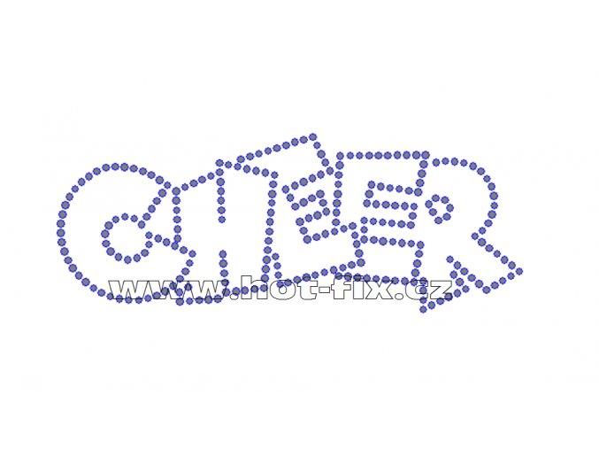 C111 - CHEER hot-fix kamínková nažehlovací aplikace na textil, rozměry cca 17,9x6,9cm