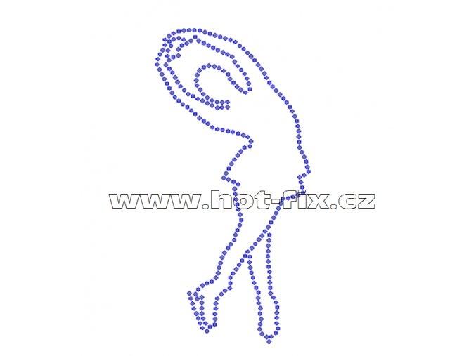 C016 - nažehlovací potisk z hot-fix kamenů krasobruslařka, rozm. cca 7,1x14,3cm