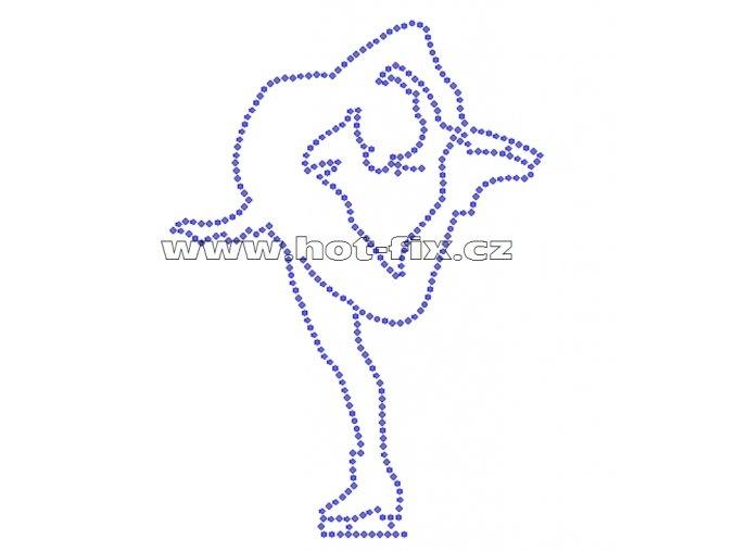 C040 - krasobruslařka nažehlovací hot-fix kamínková aplikace na textil, rozměry cca 11,7x16,2cm