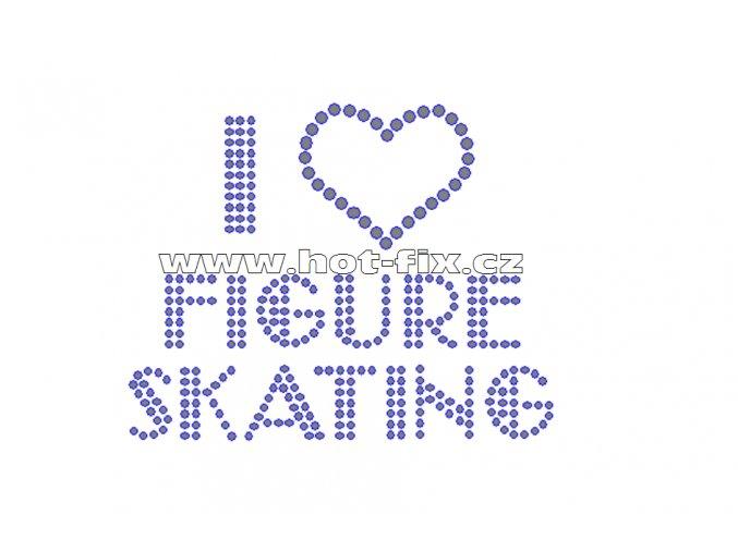 C103-A - I love figure skating nažehlovací hot-fix kamínková aplikace na textil, rozměry cca 9,9x7,8cm