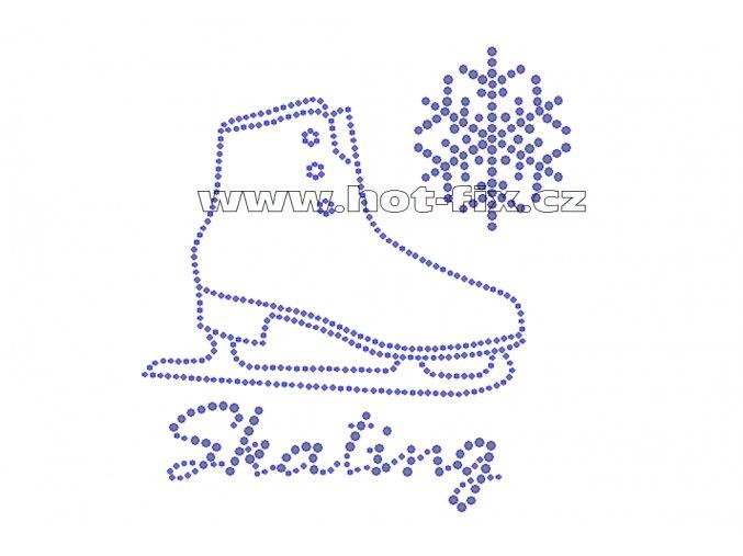 C109 - Skating a brusle s vločkou nažehlovací hot-fix kamínková aplikace na textil, rozměry cca 14,5x15,7cm