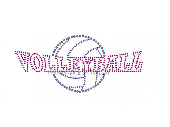 C024 - nažehlovací potisk z hot-fix kamínků volleyball, rozměry cca 17,7x8,0cm