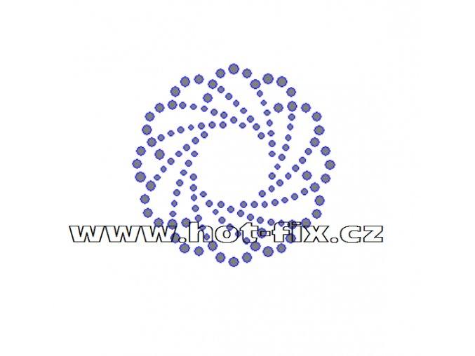 O002 - ornament nažehlovací kamínková aplikace z hot-fix kamenů, rozměry cca 6,1x6,1cm