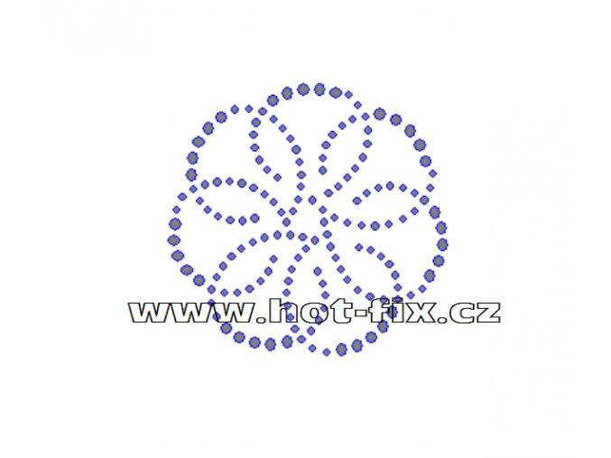 O027 - ornament nažehlovací potisk na textil z hot-fix kamenů, rozměry cca 7,0x6,8cm