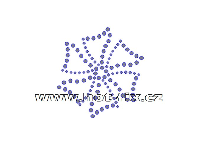 O033 - ornament květina nažehlovací potisk na textil z hot-fix kamenů, rozměry cca 6,0x6,3cm