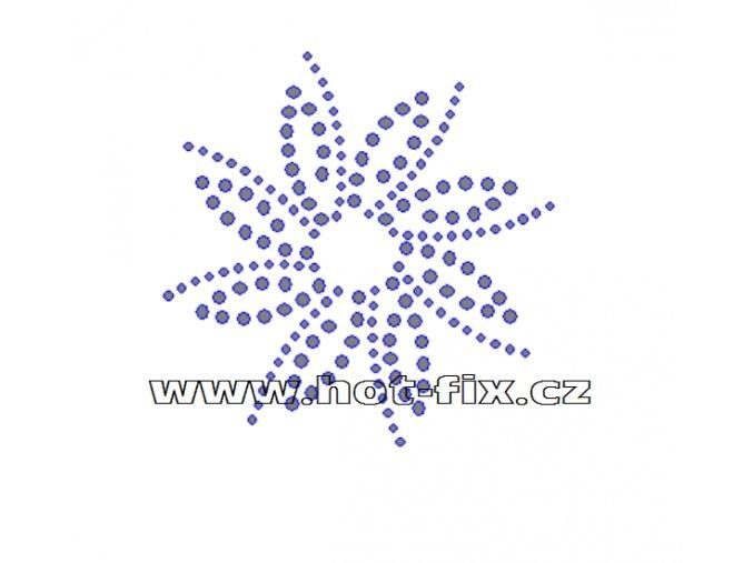 O035 - ornament nažehlovací potisk na textil z hot-fix kamenů, rozměry cca 8,2x8,3cm