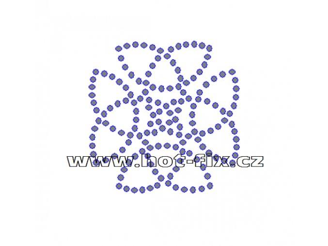 O037 - ornament nažehlovací potisk naa textil z hot-fix kamenů, rozměry cca 7,1x7,2cm