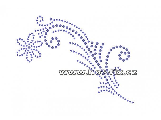 O049-L - ornament nažehlovací aplikace na textil z hot-fix kamenů, rozměry cca 13,9x10,5cm