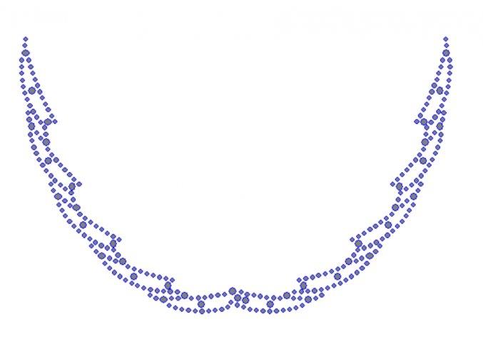 OV004 - výstřih nažehlovací potisk z hot-fix kamenů, rozměry cca 17,5x11,3cm