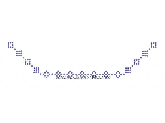 OV005 - výstřih nažehlovací hot-fix kamínková aplikace na textil, rozměry cca 28,1x6,9cm